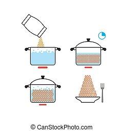 refeição., receita, products., ilustração, cooks., instruções, infographics, vetorial, ilustrações, cozinhar, manual