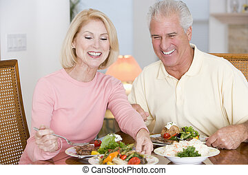 refeição, saudável, par, idoso, junto, desfrutando