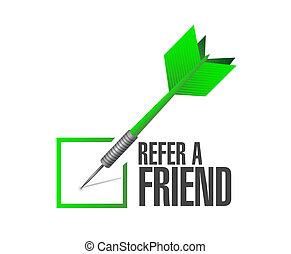 refer a friend check dart sign concept illustration design