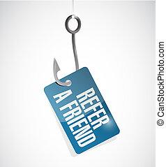 refer a friend fish hook sign concept illustration design