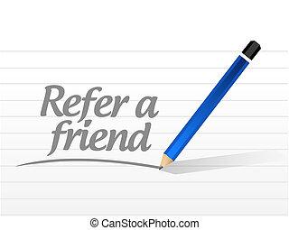 refer a friend message sign concept illustration design