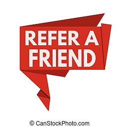 Refer a friend red origami speech bubble