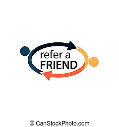 Refer a friend with people icon. Flat vector illustration on white background