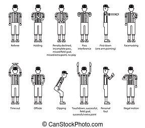 referee american football icon set