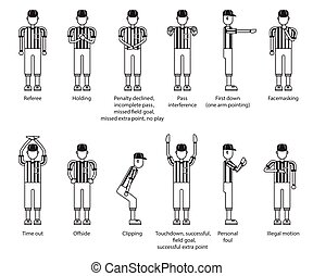 referee american football icon set
