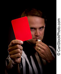 Referee foul - Referee holding red card for foul concept