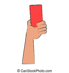 Referee hand holding card cartoon