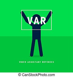 Referee makes the hands of the VAR sign.