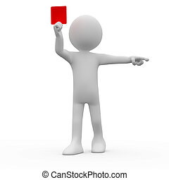 Referee showing red card and pointing with his index finger...