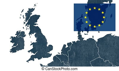 Referendum about Brexit - West EU textured map with the...