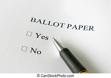 Referendum ballot paper - vote yes or no