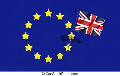 referendum., souveraineté, eu, brexit, concept., drapeau, ...