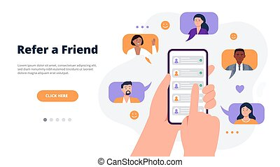 Referral program concept. Hands holding a phone with ...