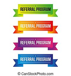 Referral Program ribbon set vector