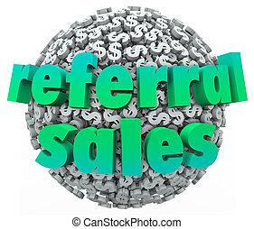Referral Sales Words Money Dollar Sign Sphere Ball -...