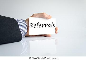 referrals, 手の執筆