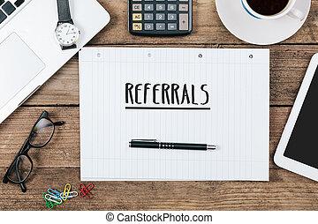 referrals, angolo, tecnologia, ufficio, quaderno, alto, computer, scrivania