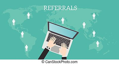 referrals business location with laptop world map people...