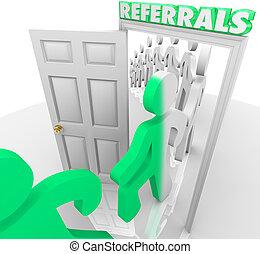 Referrals Customers Walking Through Store Door - Referrals...