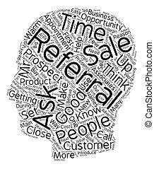 referrals, obtenir, processus, texte, ventes, comment, wordcloud, concept, fond