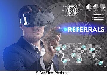referrals, voit, réseau, fonctionnement, inscription:, concept., jeune, virtuel, business, internet, homme affaires, technologie, réalité, lunettes