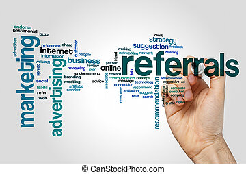 Referrals word cloud concept on grey background