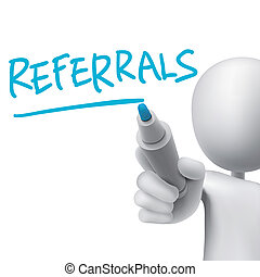 referrals word written by 3d man