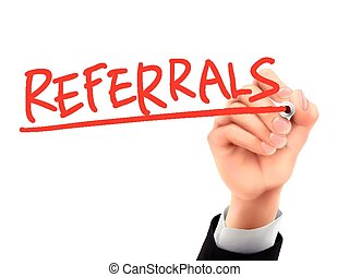 referrals written by 3d hand - referrals word written by...