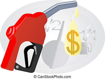 Refill with gasoline - Refueling pistol and a drop of...
