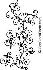 refinado, floral, vignette, cv