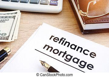 refinance, jelzálog, alkalmazás, képben látható, egy, desk.