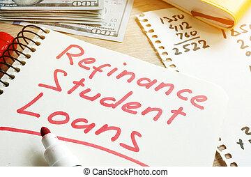 Refinance Student Loans form on a desk.