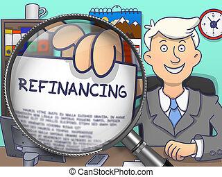 refinancing, 透過, lens., 心不在焉地亂寫亂畫, concept.