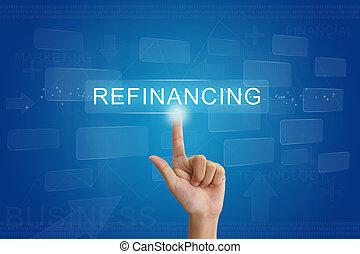 refinancing, botão, mão, imprensa, tela toque