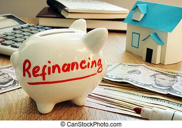 refinancing, escrito, bank., piggy