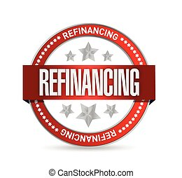refinancing red seal illustration design over a white...