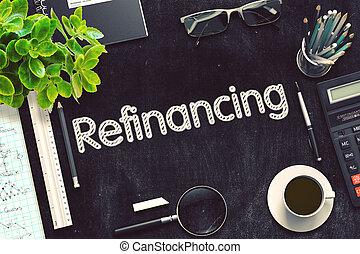 refinancing, rendering., pretas, chalkboard., manuscrito, 3d