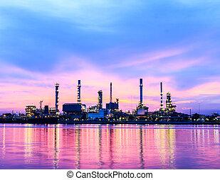 refinaria óleo, crepúsculo, manhã, planta