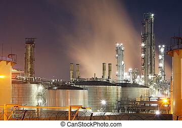 refinaria óleo, em, crepúsculo