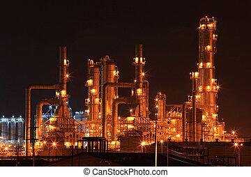 refinaria, óleo, fábrica
