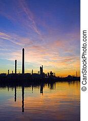 refinaria, óleo, pôr do sol