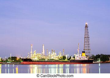 refinaria óleo, planta, com, petroleiro, noturna