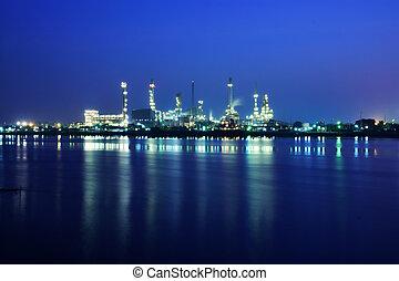 refinaria óleo, planta industrial, à noite