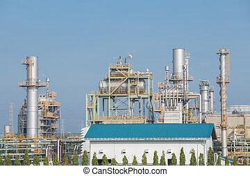 refinaria óleo, planta industrial, com, céu