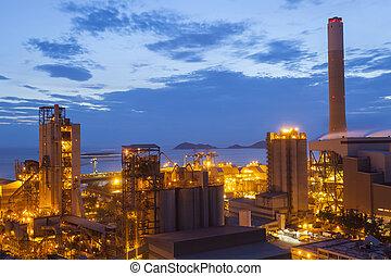 refinaria, dramático, crepúsculo, óleo