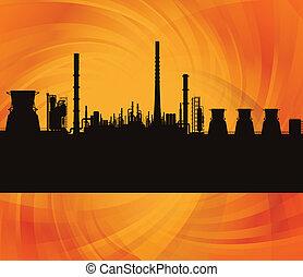 refinaria, estação, fundo, ilustração, óleo