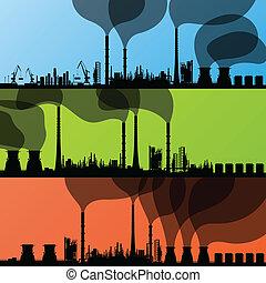 refinaria, estação, vetorial, fundo, óleo