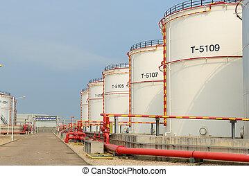 refinaria, grande, industrial, tanques, óleo