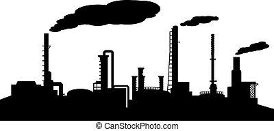 refinaria, indústria, óleo, silueta