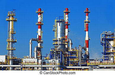 refinaria, petrochemical, óleo, planta